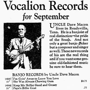 Uncle Dave Macon record ad